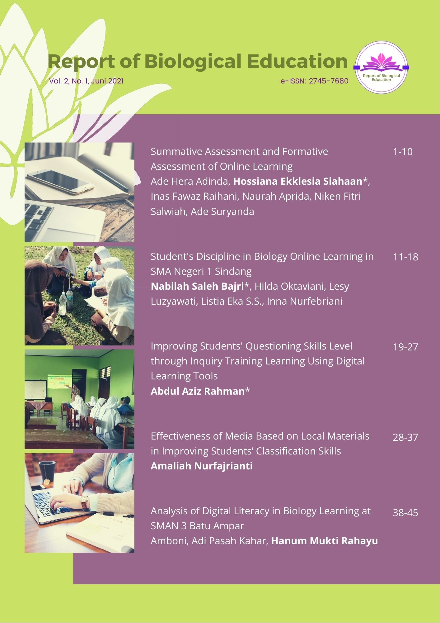View Vol. 2 No. 1 (2021): Report of Biological Education